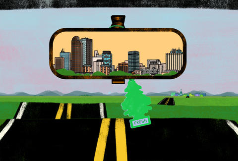 Denver, Colorado in the rearview mirror