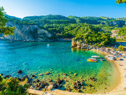 clear waters in Paleokastritsa, Corfu island, Greece