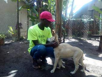 Man with rescued street dog