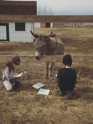 kids read to donkey at sanctuary