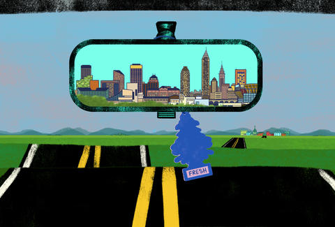 Cleveland, Ohio in the rearview mirror