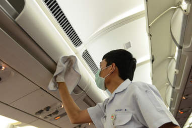 Cleaning an airplane