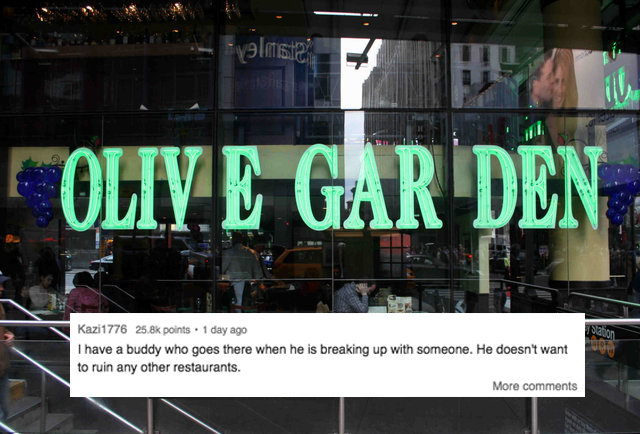 Reddit Asked People Why They Eat At The Times Square Olive Garden Thrillist