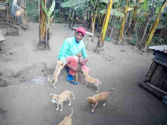 Young man with rescued puppies