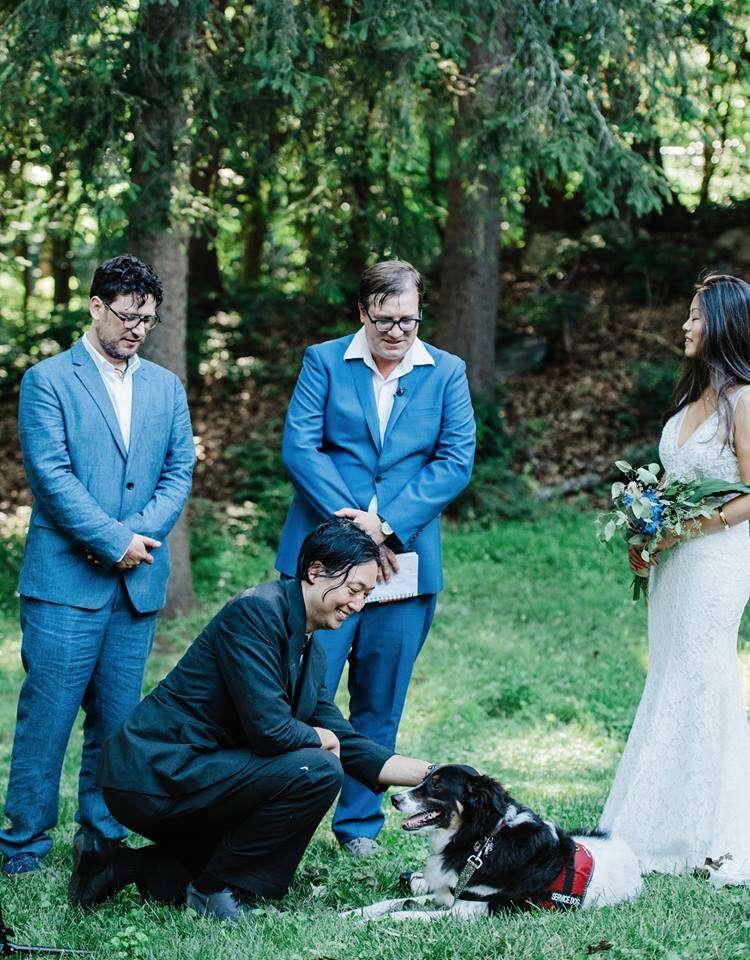 Dog in wedding ceremony