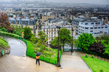 a person with an umbrella on a rainy day in Paris