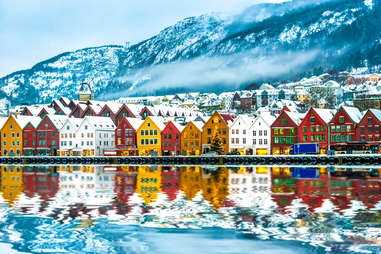 a colorful Arctic mountain town in Bergen, Norway