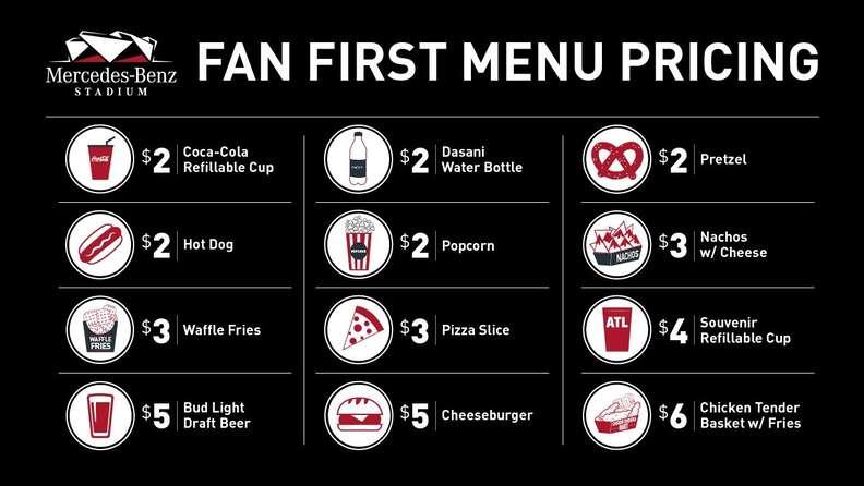 Falcons Fan First menu