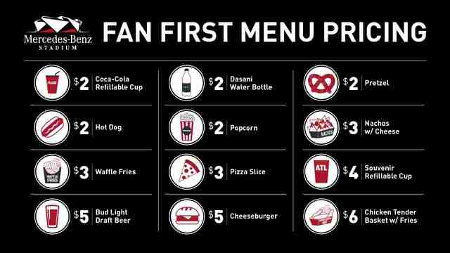 Falcons Fan First menu