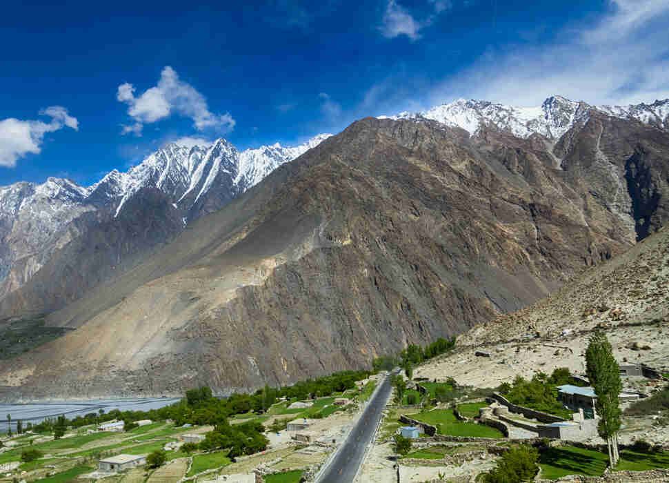 mountain valley in the karakoram highway