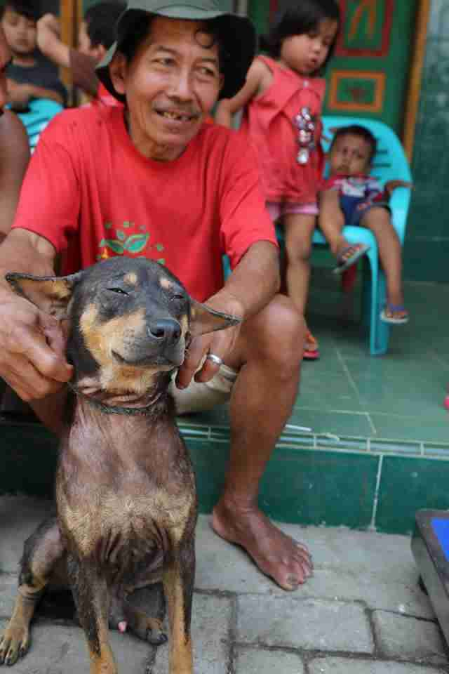 Man with his dog in Indonesia