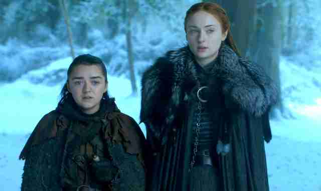 arya and sansa bran scene game of thrones season 7