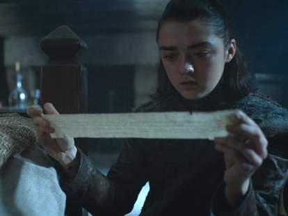 game of thrones season 7 arya note sansa