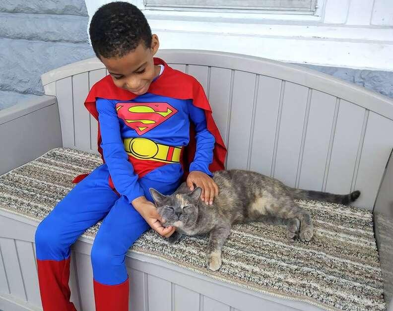 Little boy in costume petting cat