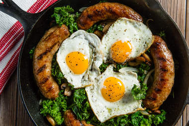 grilled sausage with eggs and kale