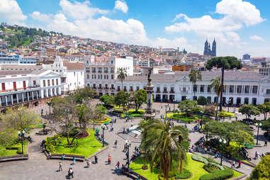 Plaza Grande in the colonial center of Quito, Ecuador