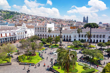 Plaza Grande in the colonial center of Quito, Ecuador
