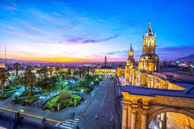 Plaza de Armas in the historic center of Arequipa, Peru