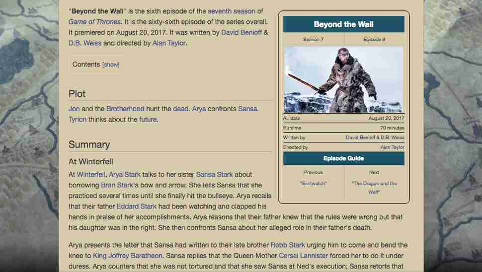 beyond the wall episode wikia page