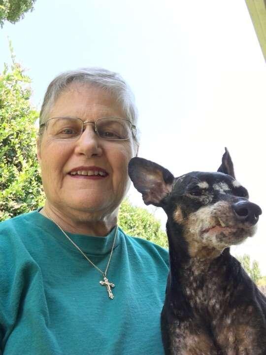 Older woman and senior dog