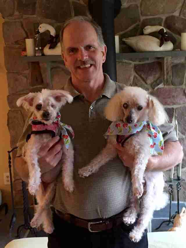 Man holding two senior dogs