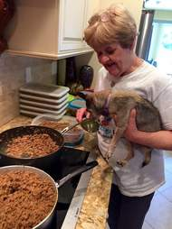 woman cooking for dog