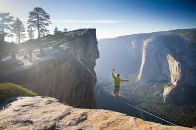 Highlining at Taft Point. Yosemite National Park