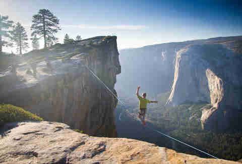 Highlining at Taft Point. Yosemite National Park