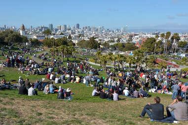 Mission Dolores Park in San Francisco, CA.