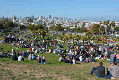 Mission Dolores Park in San Francisco, CA.