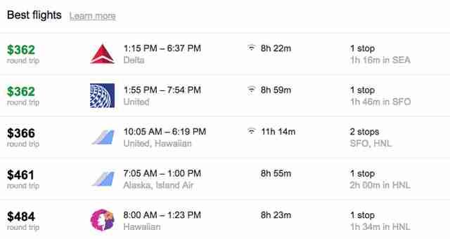 Lennot paikkaan: Havaiji