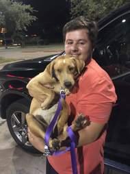 man holding rescue dog