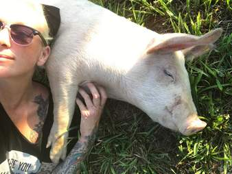 Woman cuddling with rescue pig