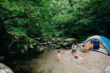 camping near stream in woods