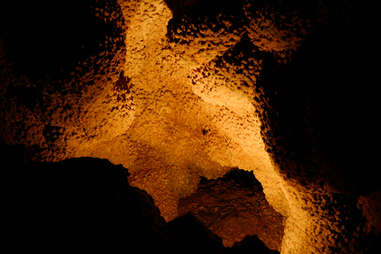 the popcorn-like ceiling of a cave
