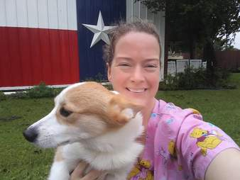 Woman holding rescue dog