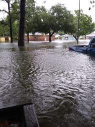 Flood waters around Texas home