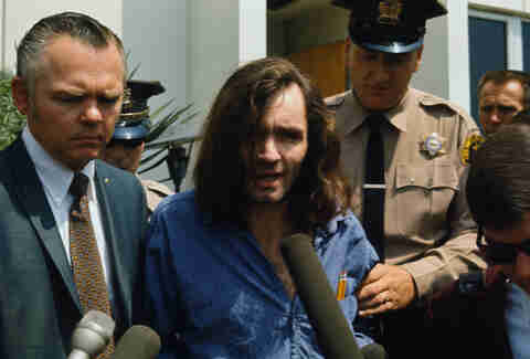 charles manson coming out of court