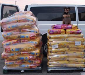 Food for stranded pets near wildfire in Canada