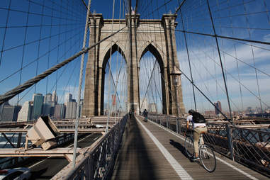 biking over bridge