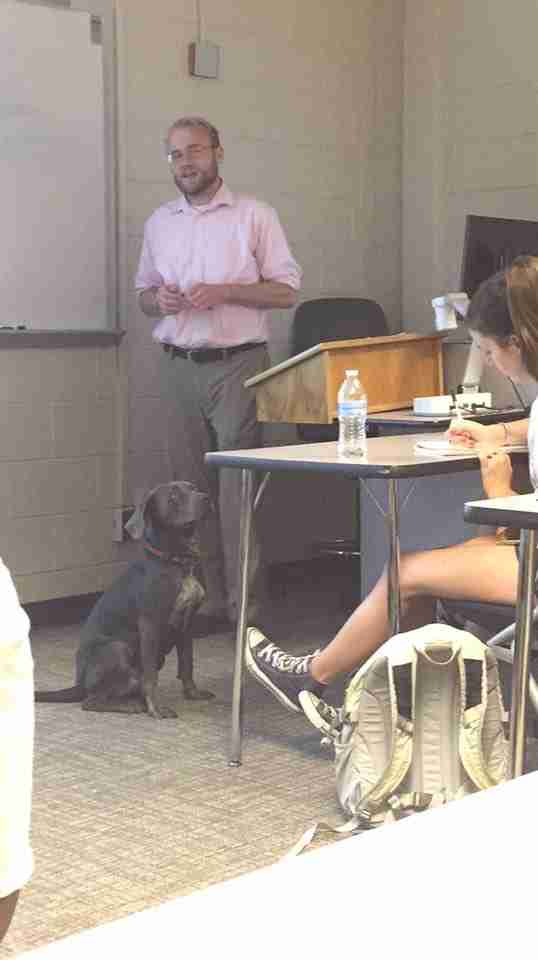 student brings dog to class