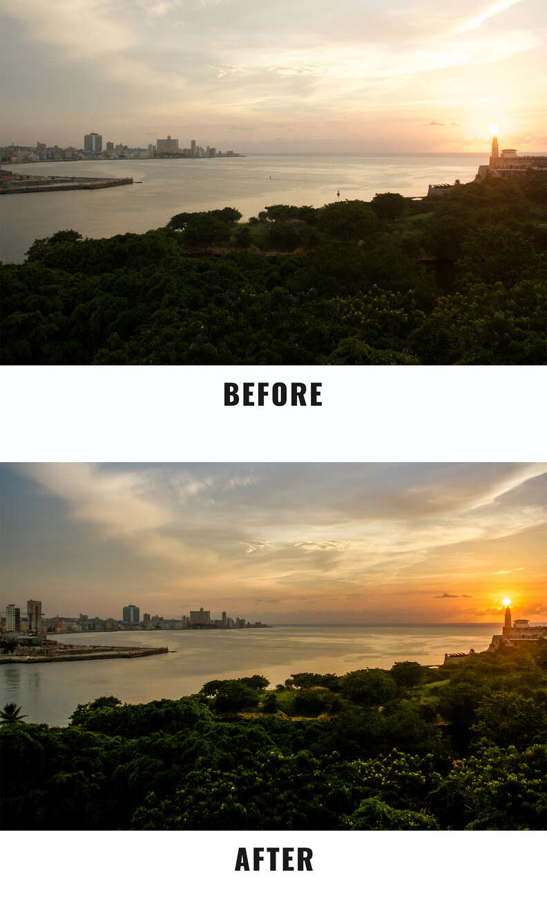 sunset before and after