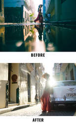 woman walking before and after