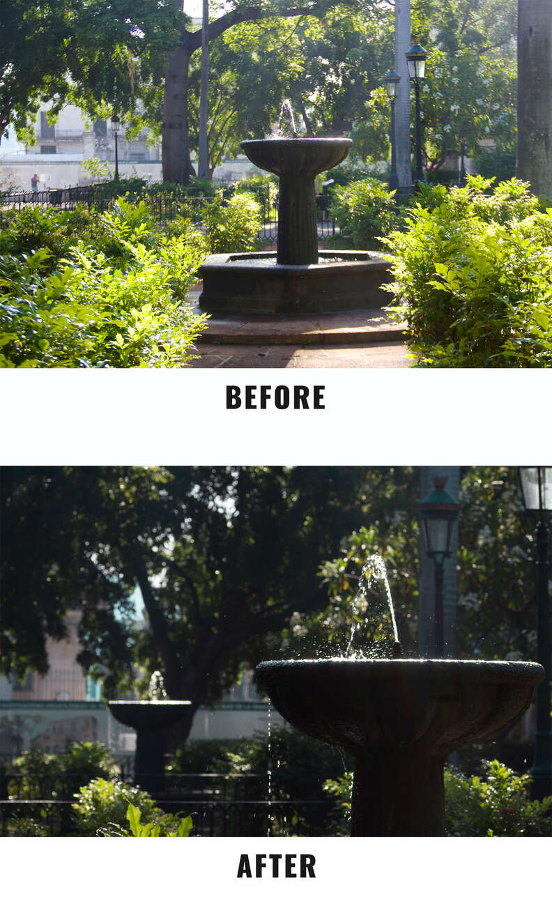 fountain before and after