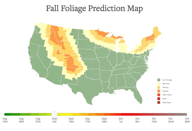 Fall Foliage Map 2017 Where To See The Autumn Leaves Change Thrillist