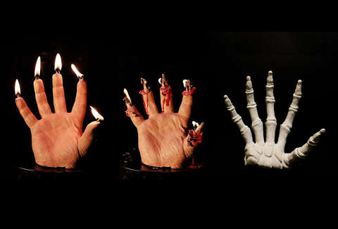 Bloody Hand Candles Reveal Skeleton When Melted Thrillist