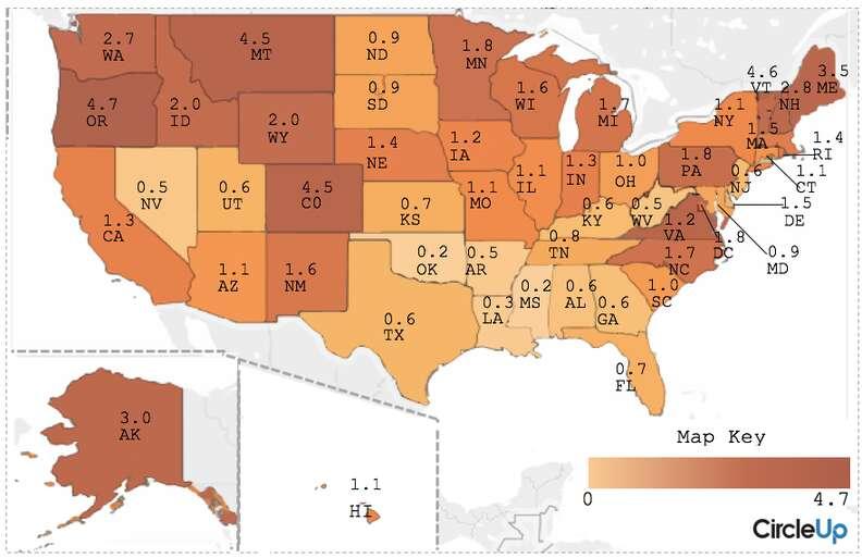 most craft breweries per state