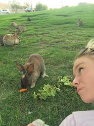 Woman with rabbits at dumping ground