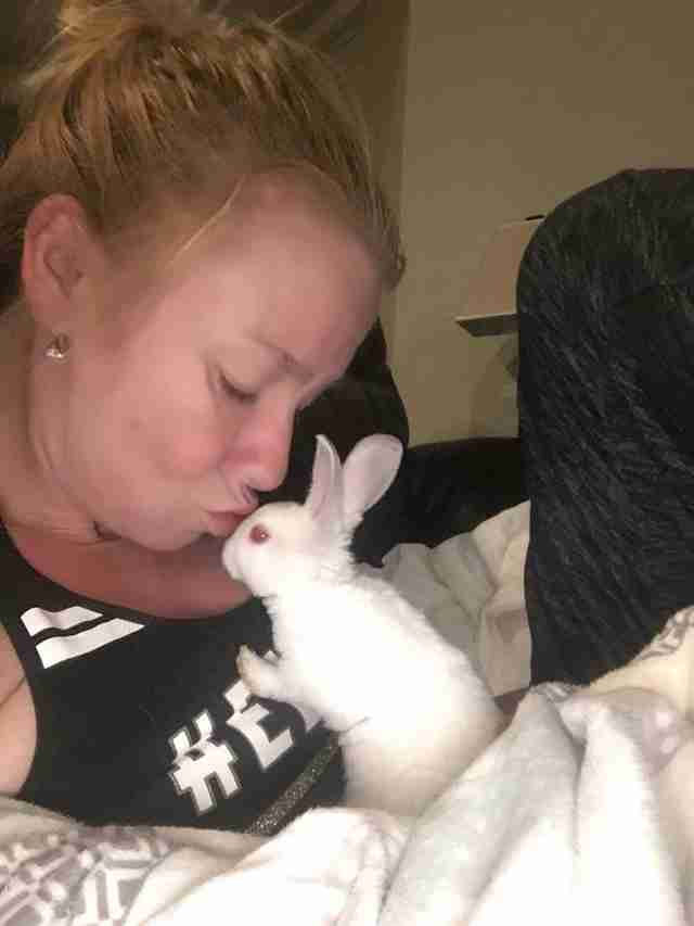 Woman kissing rescued rabbit