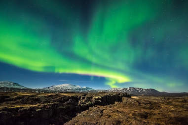 Aurora borealis over the Thingvellir National Park